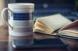 Kaffee Smartphone Notizbuch