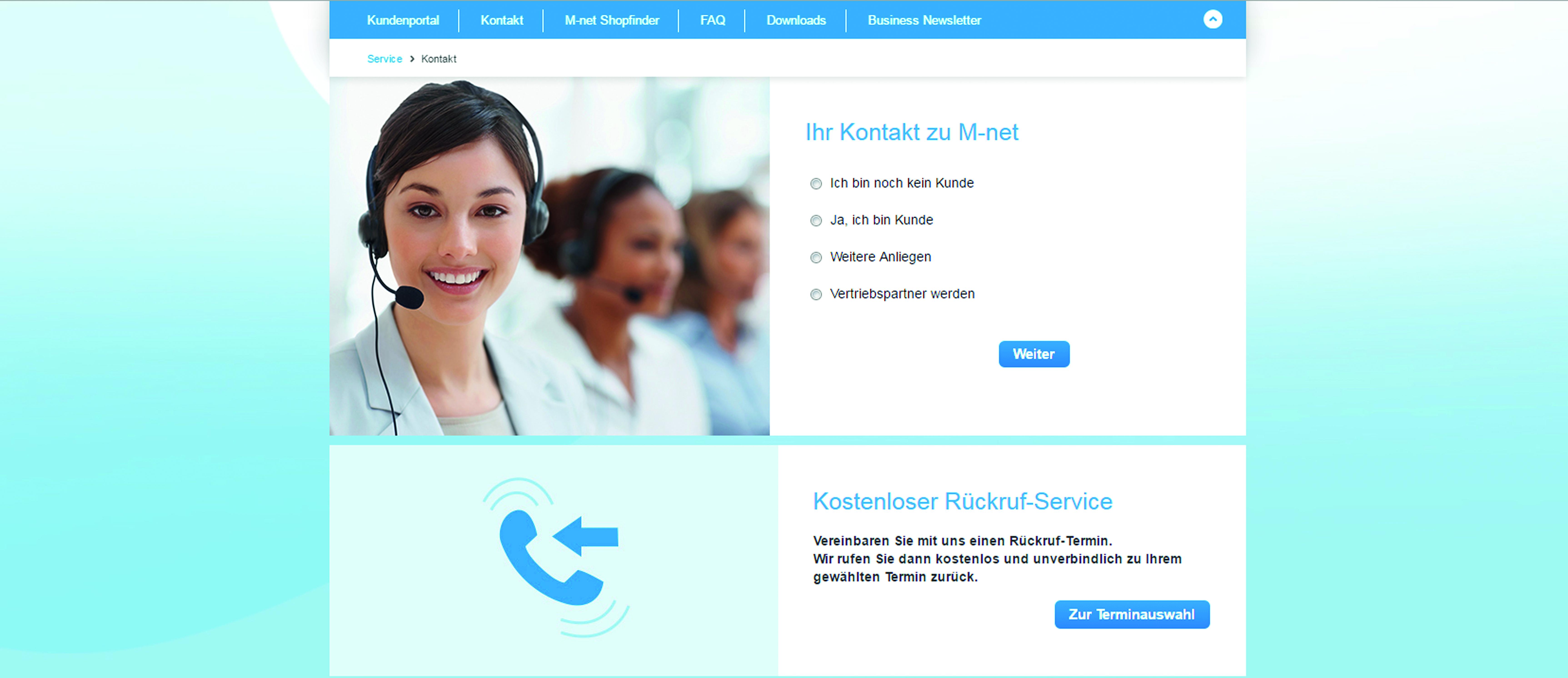 Interface für den kostenlosen Rückruf-Service
