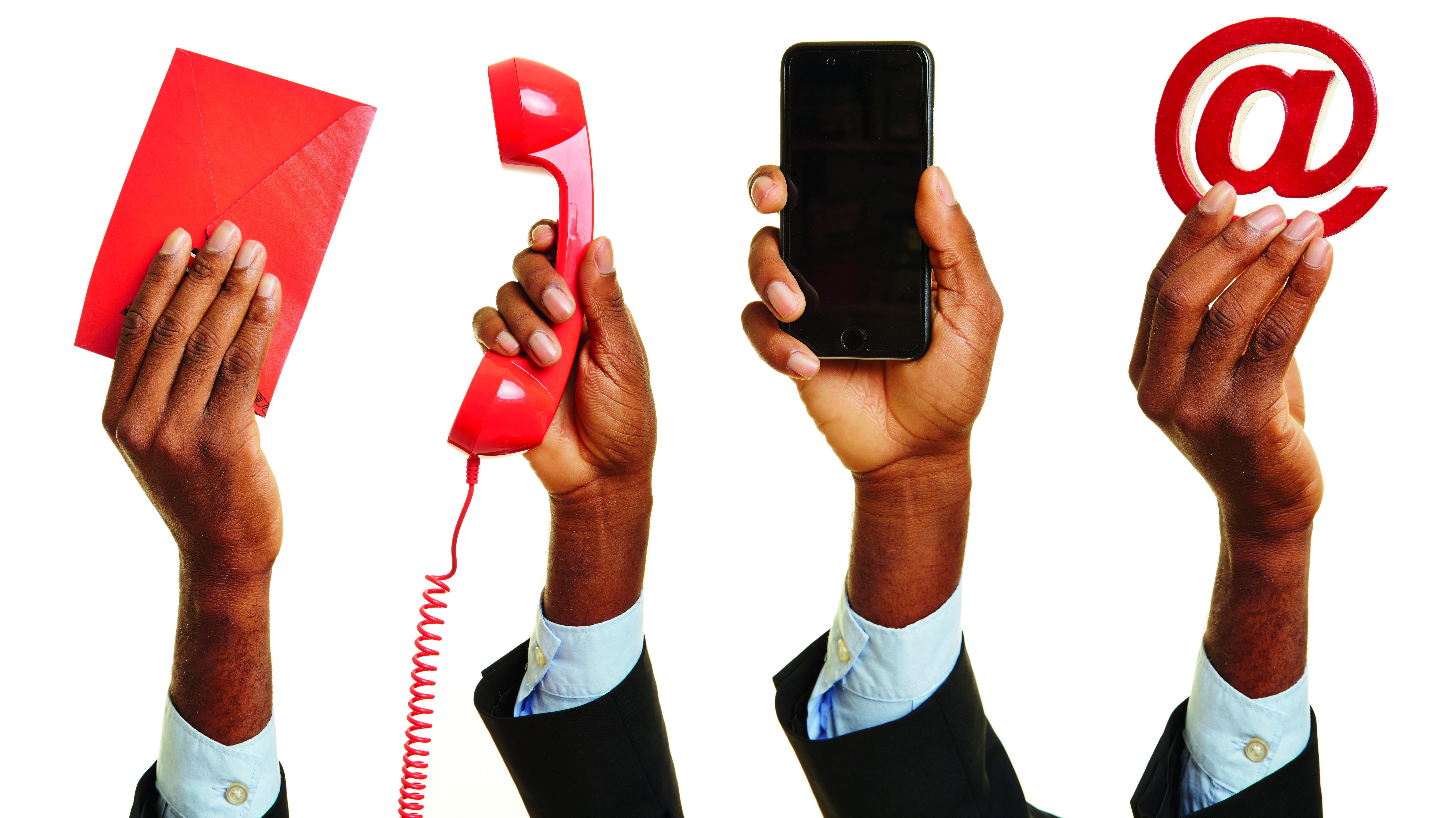 Kontakt mit dem Kundendienst via Brief, Email oder Telefon